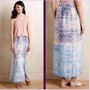 Anthropologie Maeve Waimea Printed Silk Maxi Skirt